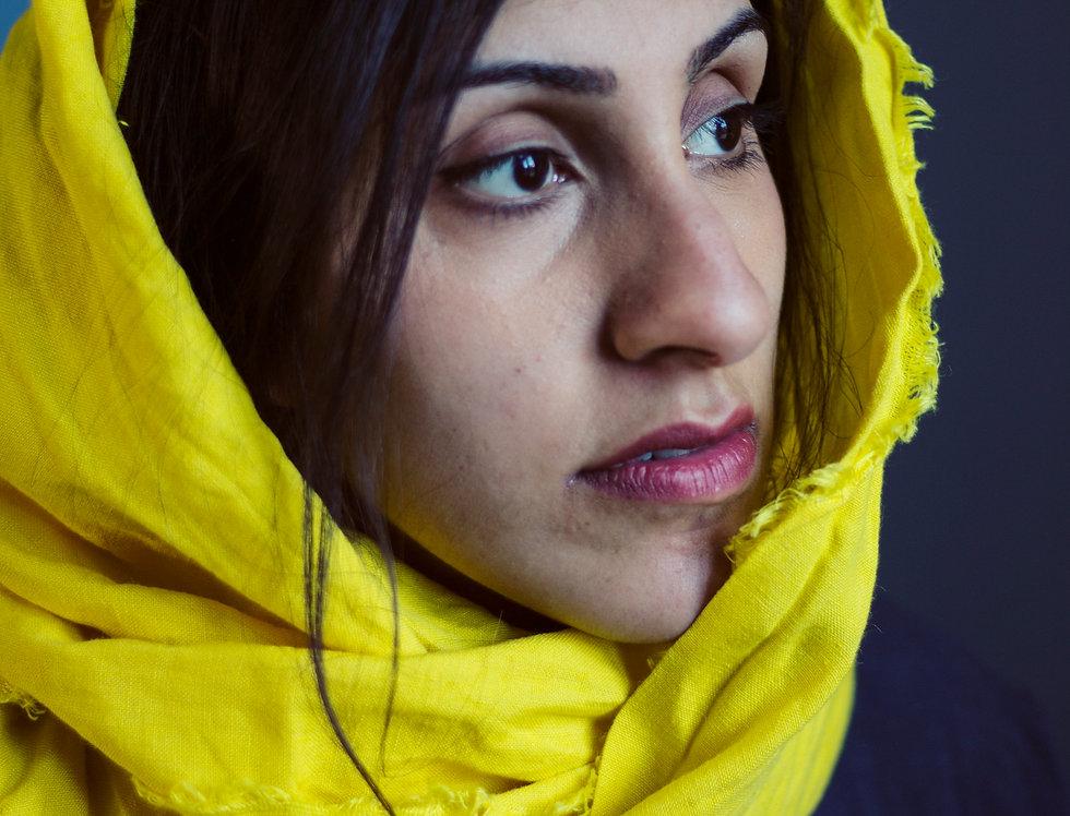 Softened 100% Linen Wraparound Scarf (Yellow)