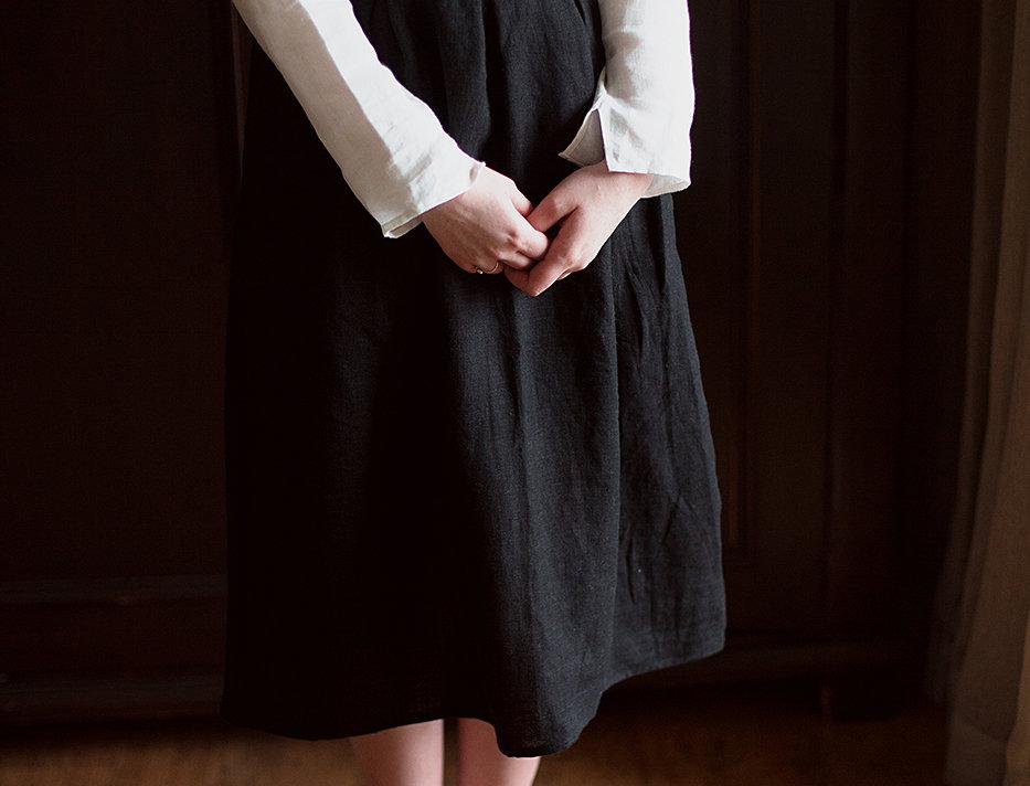 100% Linen Skirt Black