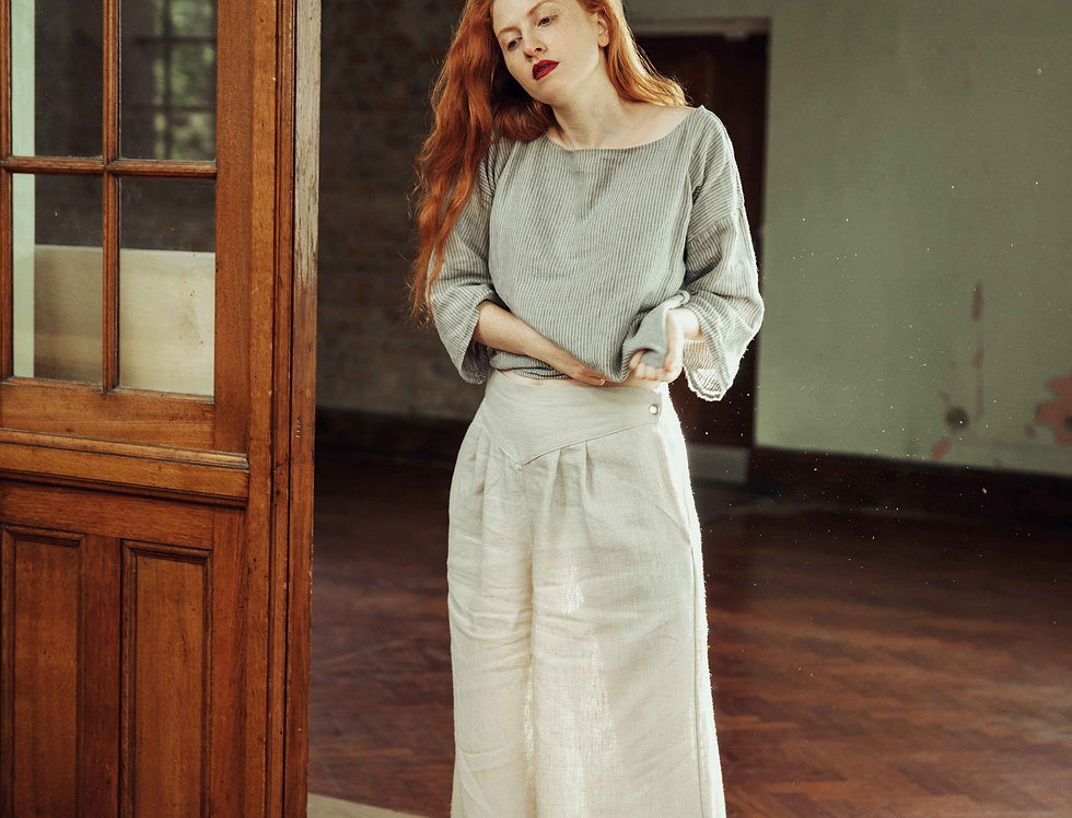 100% Linen Tailored Wide Trousers