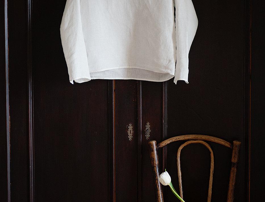 100% Linen Top White