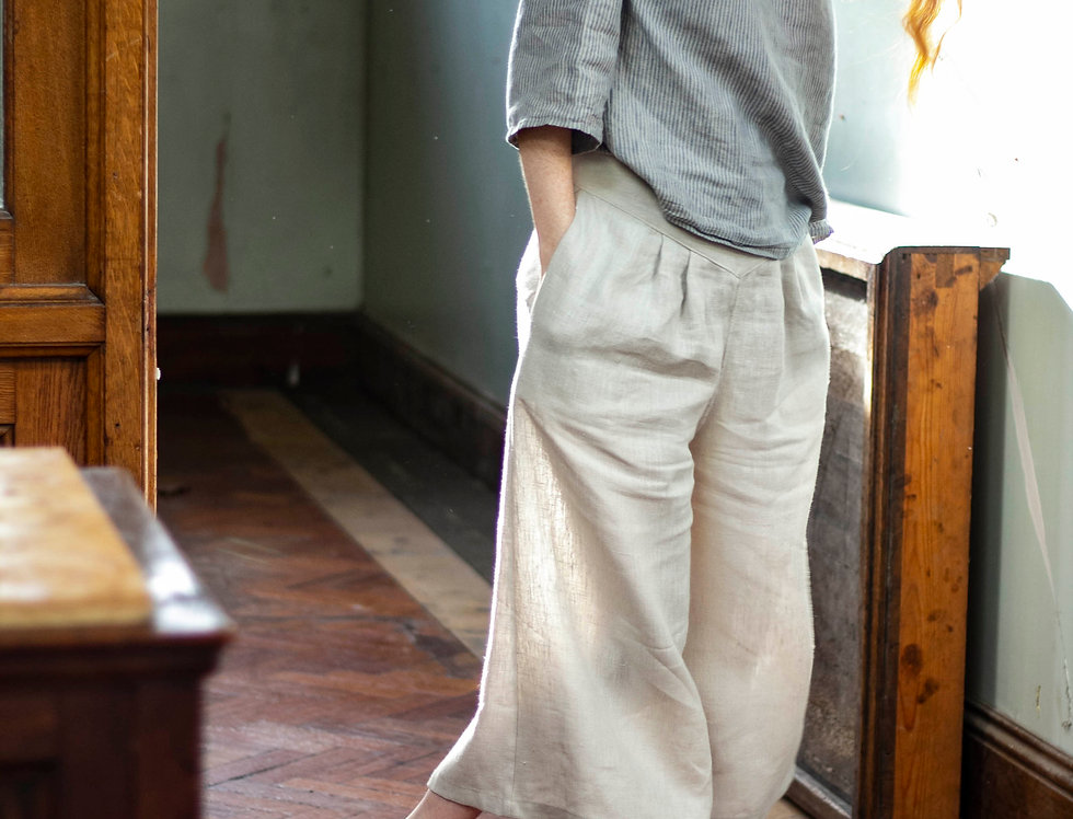 100% Linen Tailored Wide Trousers Sample