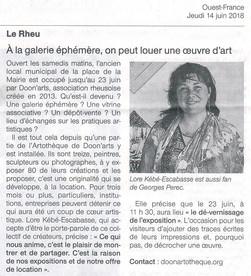 Article Ouest France, expo Le Rheu