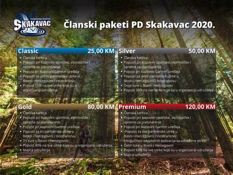 Pogledajte članske pakete PD Skakavac za 2020. godinu
