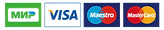 Банковские карты для оплаты: Мир, Visa, Maestro, Mastercard