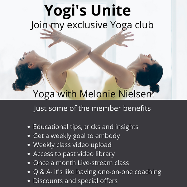 Yogi's Unite Yoga club Yoga with Melonie