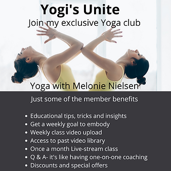 Yogi's Unite Yoga club Yoga with Melonie