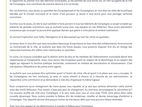 Lettre aux agents de la ville de Compiègne : Préparons l'Avenir de Compiègne Tous Ensemble !