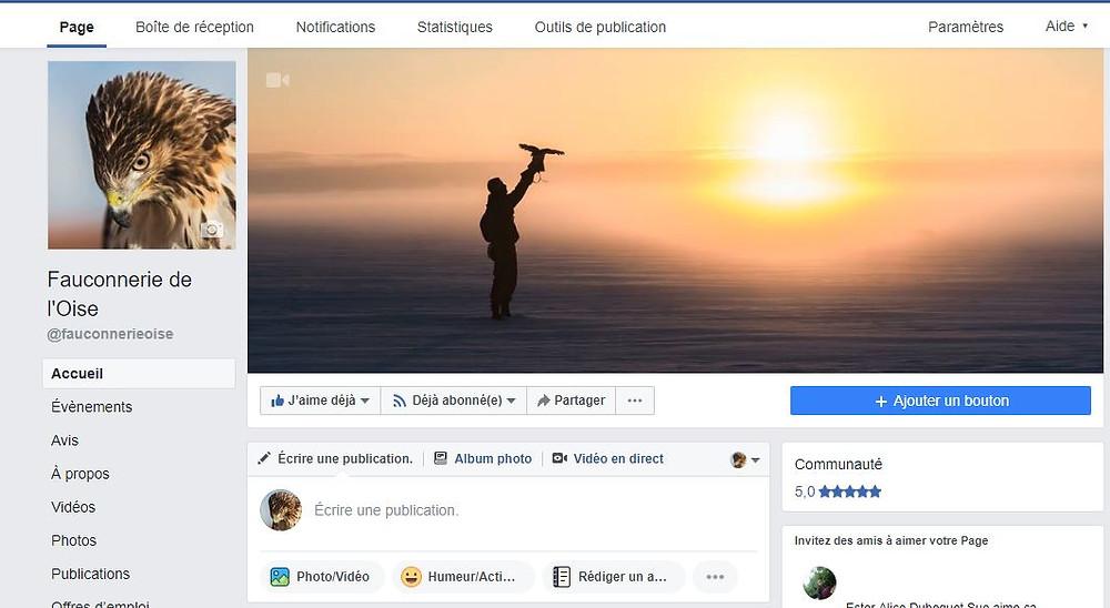 La Fauconnerie de l'Oise est présente sur Facebook