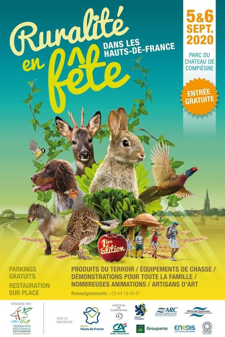 Affiche de fête de la ruralité les 5 et 6 septembre 2020 au Château de Compiègne dans l'Oise