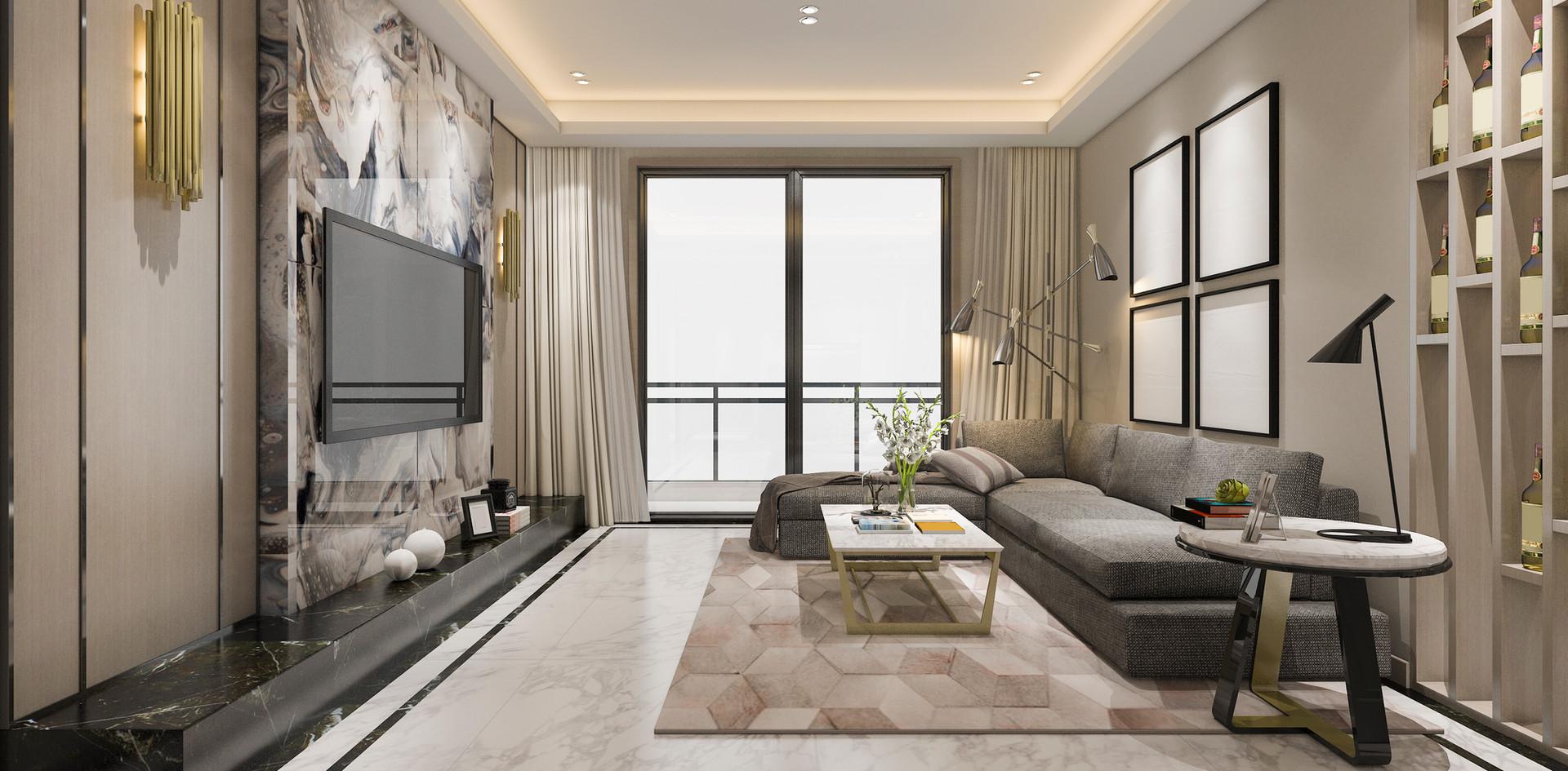 Sala de estar em mármore