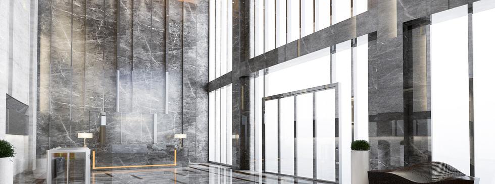 Recepção de hotel em mármore