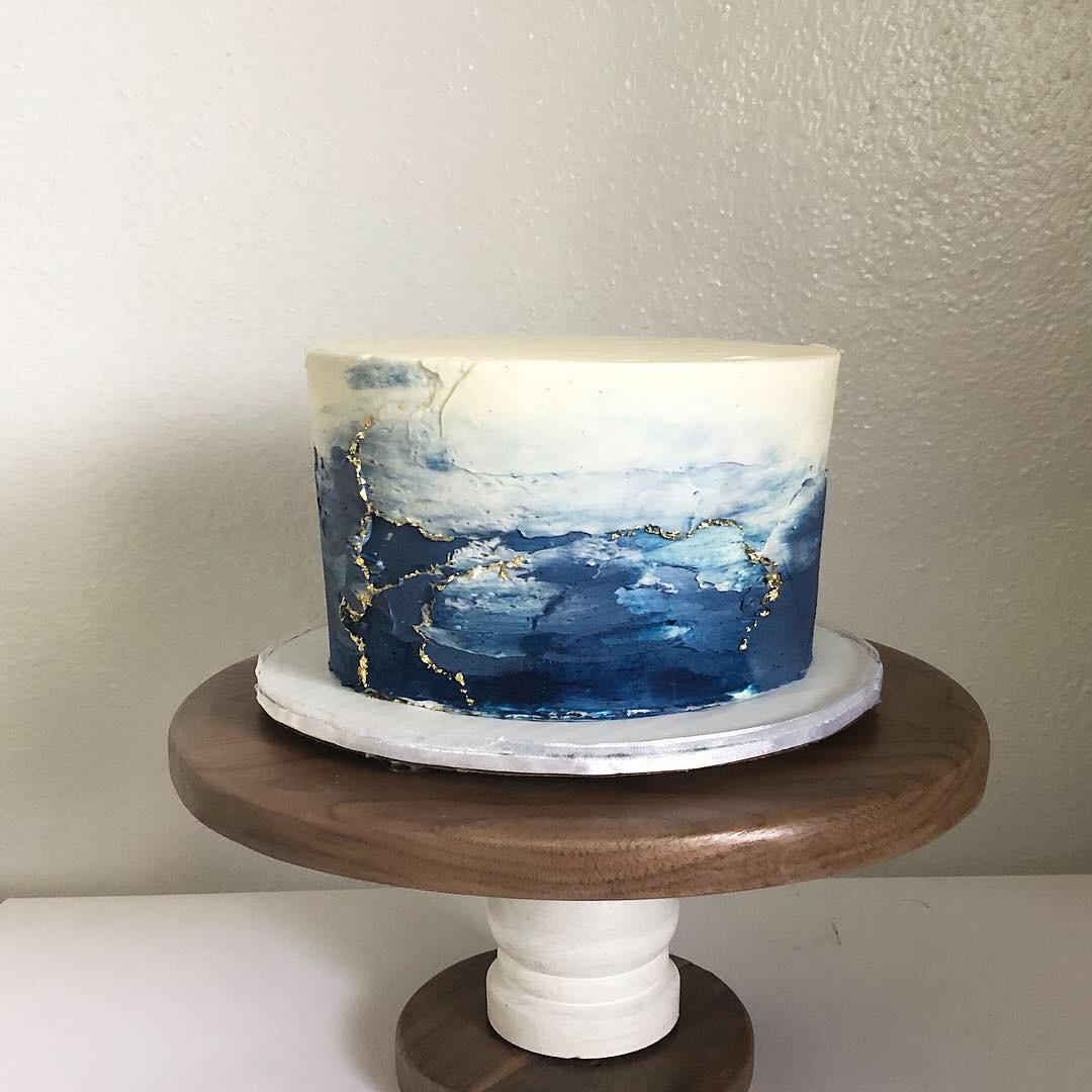 Ocean Inspired Textured Cake