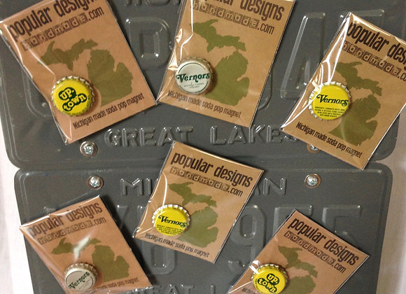 (10) Michigan Made Vernor's & UpTown Soda Pop Magnet