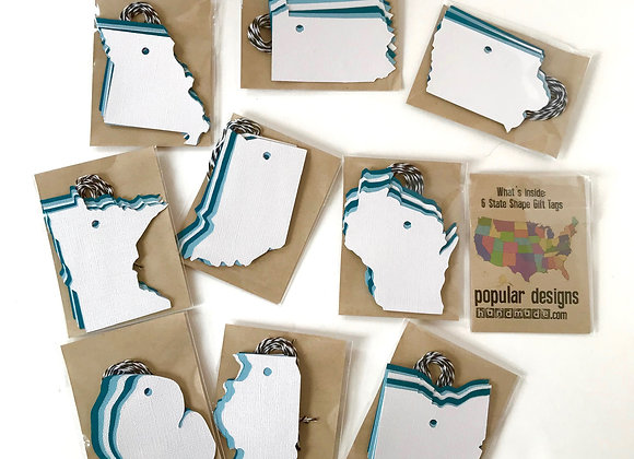 (10) State Shape Gift Tags