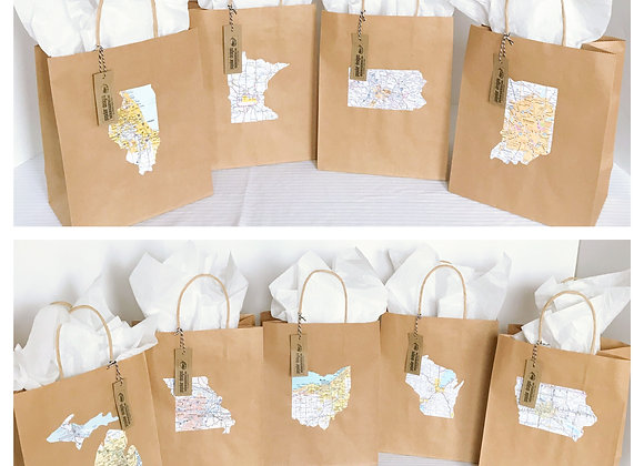 (10) medium State Shape Map Gift Bag