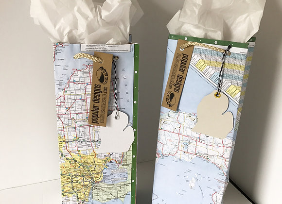(5) wine Map Gift Bag