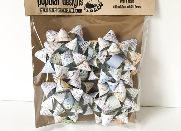 (5) 4-Pack Map Book Gift Bows