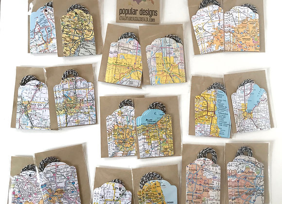 (10) Map Gift Tags