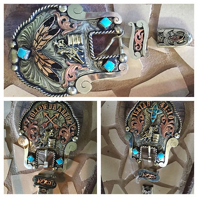 custom trophy headstall buckles made for a barrel racer
