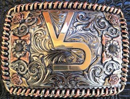 trophy buckle, laced edge, custom design, rodeo award