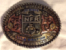 classic trophy buckle with antiqued finish