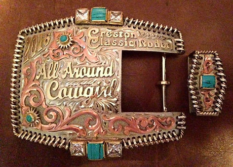 two piece western belt buckle, trophy buckle