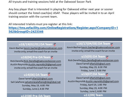Girls and Boys Tryouts 2019-2020 Teams