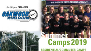 Soccer Camp Schedule for Summer 2019