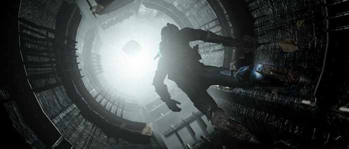 a man in a space suit making his way towards a light.