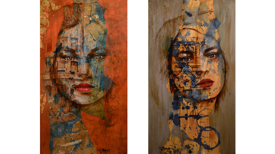 Mixed media 80cm x 40cm (each) (sold)