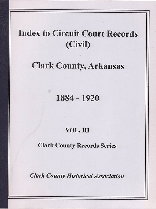 Index to Circuit Court (Civil)  Record 1884 -1920