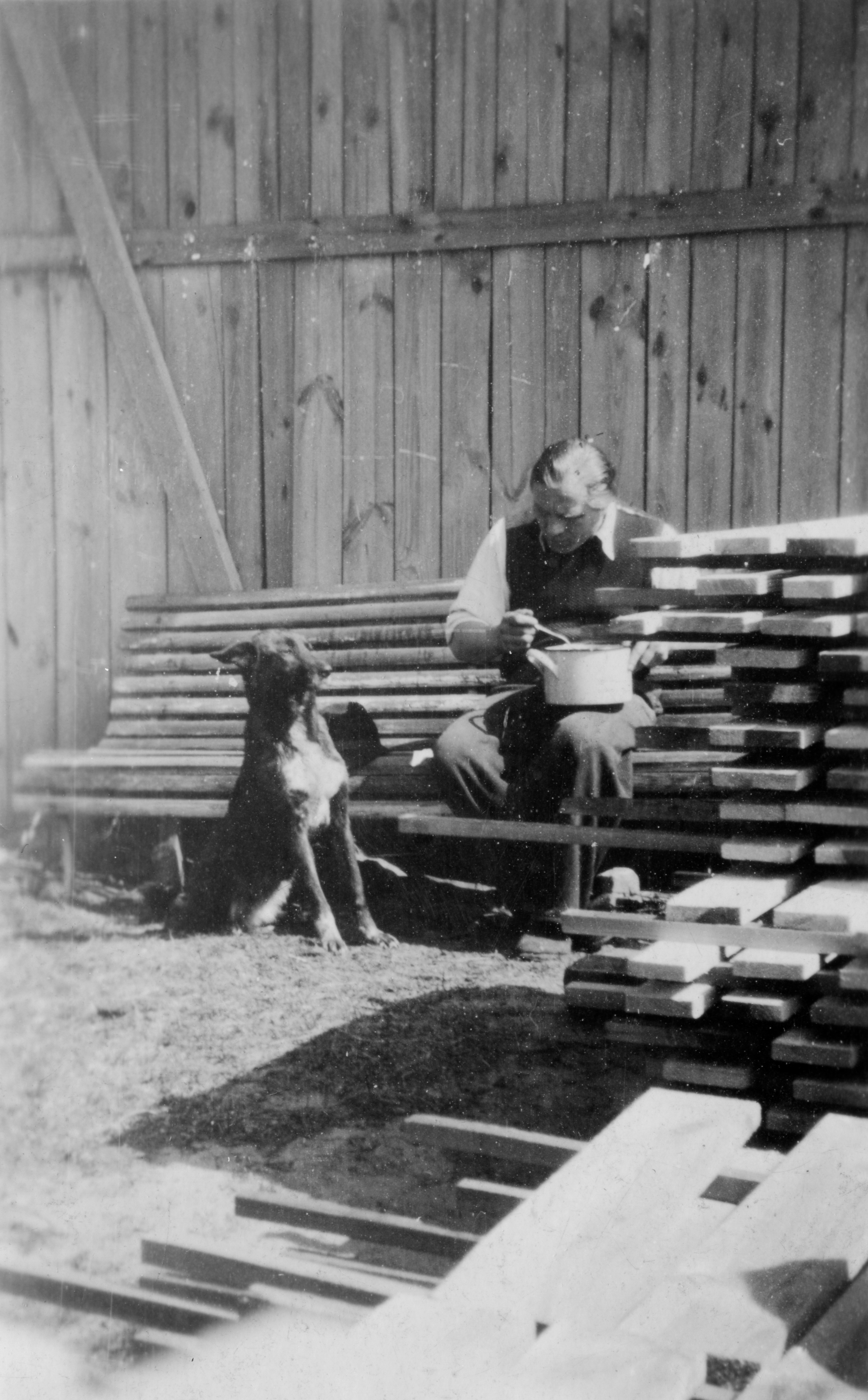 Eva's grandfather with Faska the dog