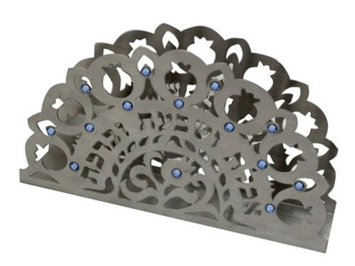 STAINLESS STEEL NAPKIN HOLDER, LAZER CUT POMEGRANATE AND HEBRE MOTIF
