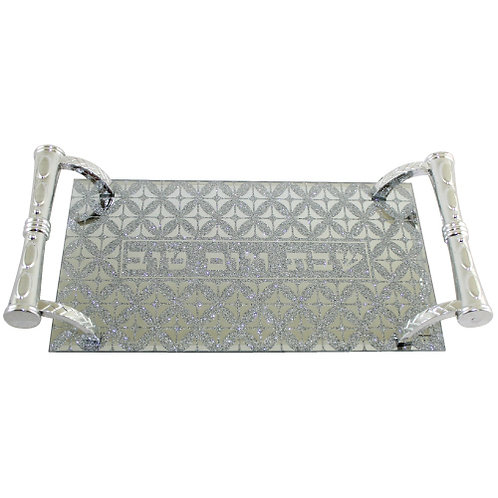 GLASS TRAY WITH HANDLES 25X14 CM