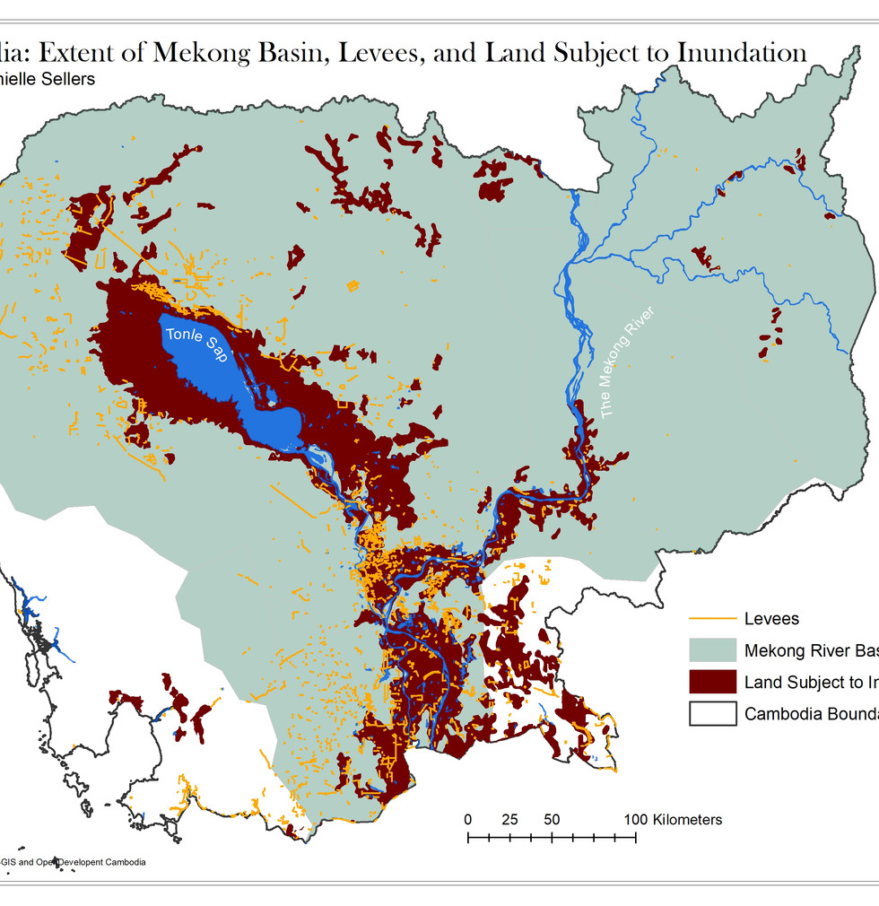 Cambodia Mekong River Basin & Lands Subject to Inundation