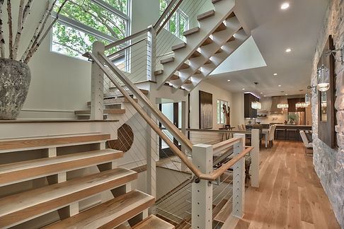 Custom made stairs. Each piece of wood was hand made for this specific home