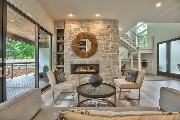 Cozy fireplace in a newly build home