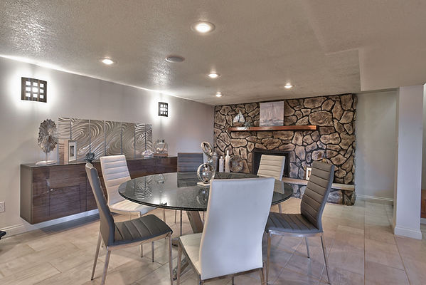 Basement card table with a fireplace