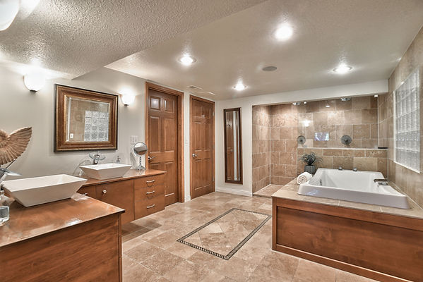 Bathroom with a zero entry shower