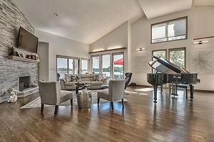 Piano room with fireplace