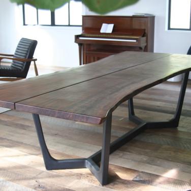 "144"" natural edge claro walnut split table w/ custom metal base"