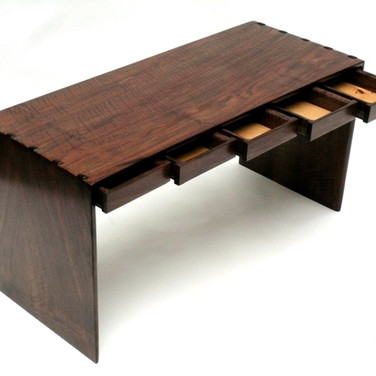 walnut piano bench w/ drawers