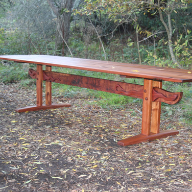12 foot old growth redwood trestle table. #1713