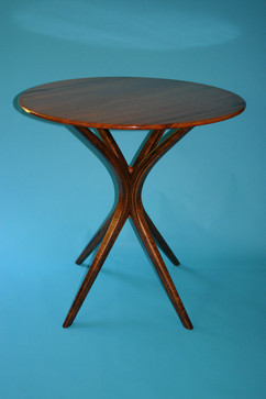 "euc top w/ walnut legs 42"" by 39"" diameter"