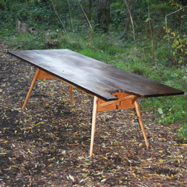 "111"" by 38.5"" claro walnut folding leg table #1707"