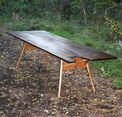 This table is a Wharton Esherick design w/ oak folding legs