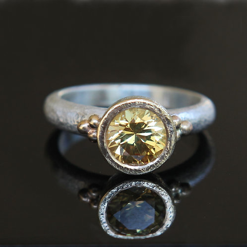 Natural 1.60ct Yellow Sapphire Solitaire Ring Sz 6.5 Sterling Silver 18k Gold