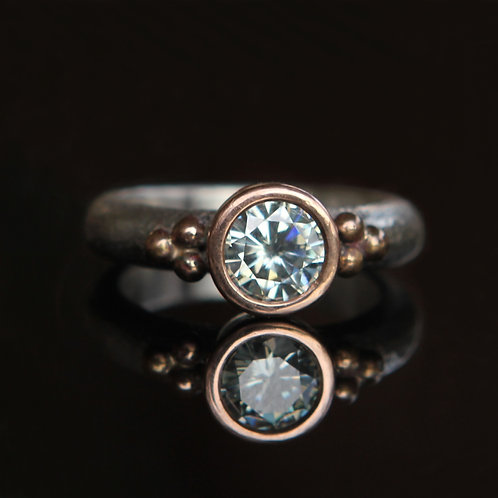 Hand Forged 1.0Ct Light Blue Moissanite 14K RoseGold And Sterling Silver