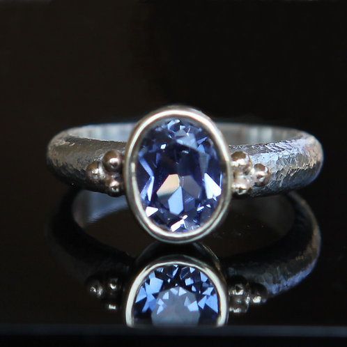 Natural 1.70ct Blue Sapphire Solitaire Ring Sz 6.5 Sterling Silver 14k Gold