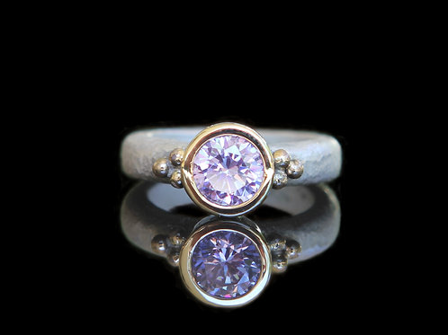 Natural 2.5ct  Natural Lavender Sapphire Ring Sz 6.5 Sterling Silver 14k Gold